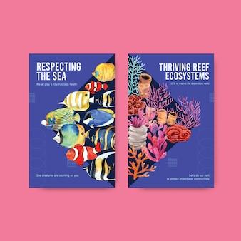 Progettazione del modello del libro elettronico per il concetto di giornata mondiale degli oceani con il vettore dell'acquerello degli animali e dei pesci marini