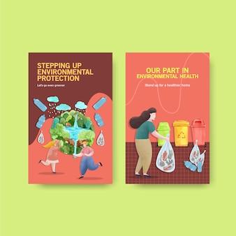 Progettazione del modello del libro elettronico per la giornata mondiale dell'ambiente risparmia il concetto del mondo del pianeta della terra con il vettore dell'acquerello amichevole dell'ecologia