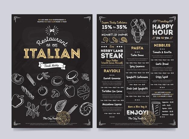 Progettazione del modello del menu del caffè del ristorante, vettore