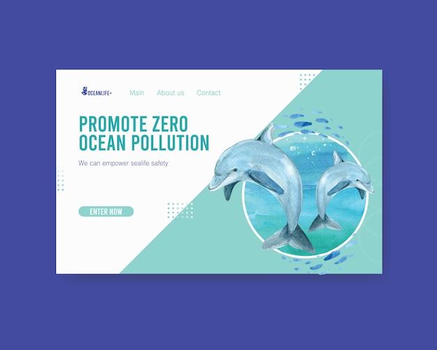 Progettazione del modello del sito web per il concetto di giornata mondiale degli oceani con il vettore dell'acquerello del delfino