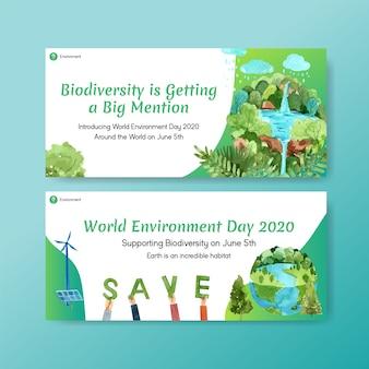 Progettazione del modello del tabellone per le affissioni per la giornata mondiale dell'ambiente. risparmia il concetto del mondo del pianeta della terra con il vettore dell'acquerello amichevole dell'ecologia