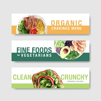 Progettazione del modello dell'insegna dell'alimento sano per il buono, acquerello della pubblicità