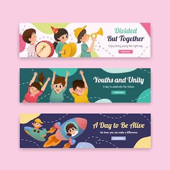 Progettazione del modello dell'insegna di giornata della gioventù per la giornata internazionale della gioventù, modello, acquerello pubblicitario