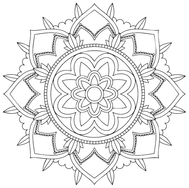 Progettazione del modello della mandala su fondo bianco