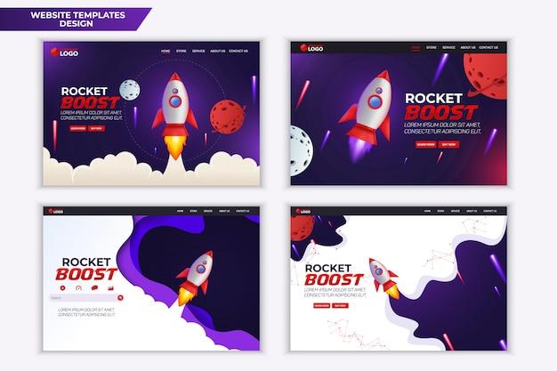 Progettazione del modello della pagina di destinazione del sito web rocket boost