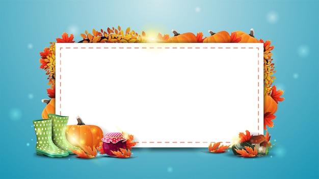 Progettazione del modello di autunno con il foglio di carta bianco bianco per testo, elementi estivi e accessori da spiaggia. layout estivo vuoto per la tua creatività