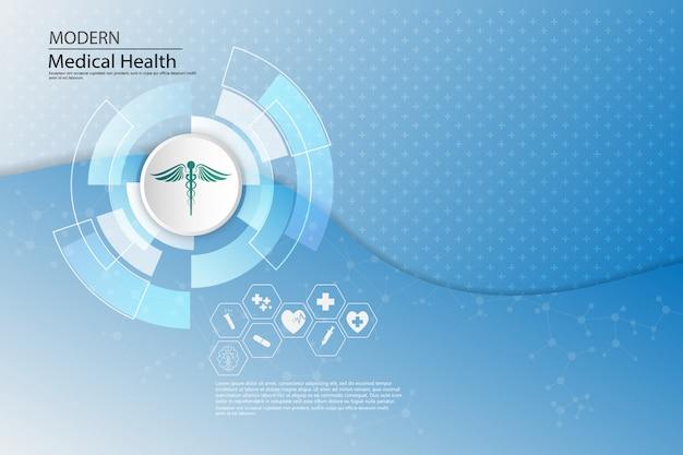 Progettazione del modello di concetto di sanità medica del fondo astratto di vettore
