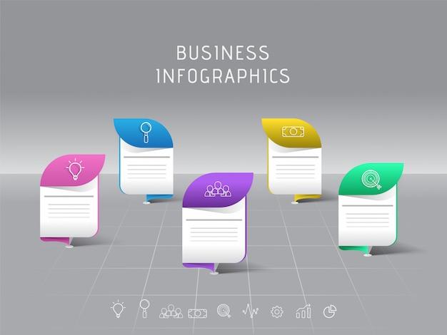 Progettazione del modello di infographic di affari 3d con cinque punti