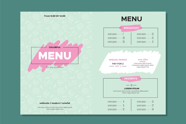Progettazione del modello di menu di estaurant per modello