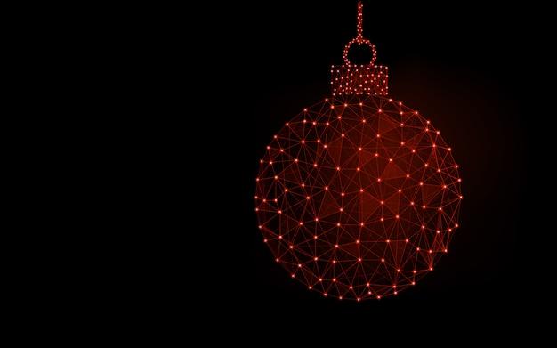Progettazione del modello di parola del buon anno, immagine geometrica dell'estratto della palla di natale