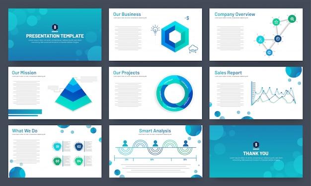 Progettazione del modello di presentazione aziendale con elementi infographic