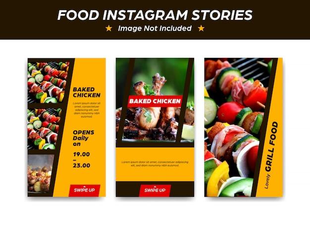 Progettazione del modello di storia di instagram per il barbecue della griglia cotto al forno del ristorante dell'alimento