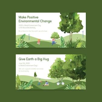 Progettazione del modello di twitter per la giornata mondiale dell'ambiente. risparmia il vettore dell'acquerello di concetto del mondo del pianeta terra