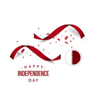 Progettazione del modello di vettore di giorno dell'indipendenza felice del qatar
