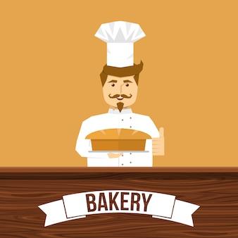 Progettazione del pane e del panettiere con l'uomo sorridente dietro il contatore di legno