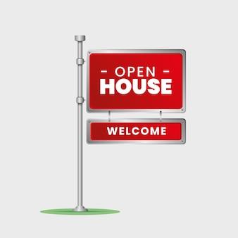 Progettazione del segno di affari immobiliari della casa aperta