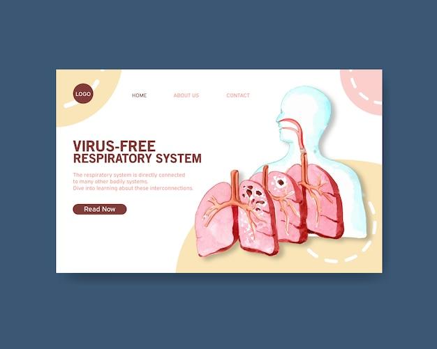 Progettazione del sistema respiratorio per modello di sito web con anatomia umana del polmone