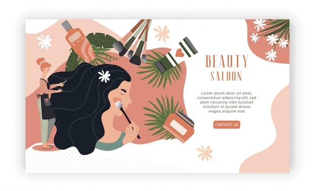 Progettazione del sito web del salone di bellezza, trucco della donna professionale e acconciatura, illustrazione
