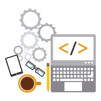 Progettazione del software di programmazione, grafico dell'illustrazione eps10 di vettore