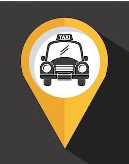 Progettazione del taxi sopra l'illustrazione scura di backgroundvector