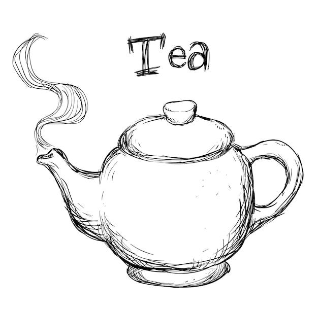 Progettazione del tè sopra l'illustrazione bianca di vettore del fondo