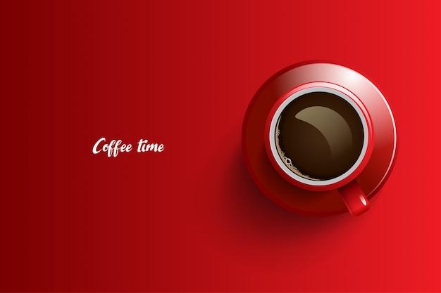 Progettazione del tempo del caffè su sfondo rosso