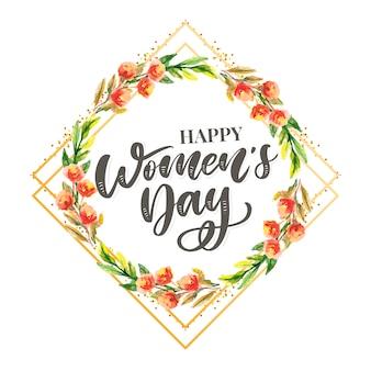Progettazione del testo di festa della donna con l'illustrazione dei fiori. progettazione di calligrafia di saluto del giorno della donna