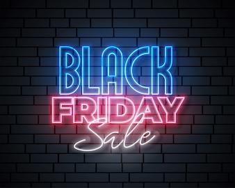 Progettazione dell'insegna di vendita al neon nera di venerdì