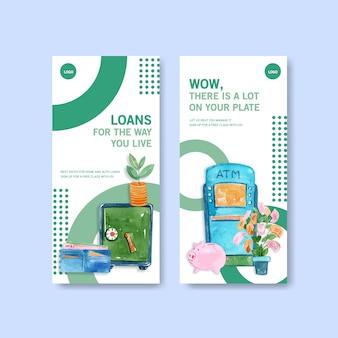 Progettazione dell'aletta di filatoio con l'illustrazione dell'acquerello di finanza, di affari, di valuta e di attività bancarie.