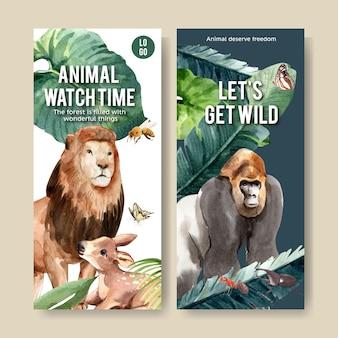 Progettazione dell'aletta di filatoio dello zoo con il leone, gorilla, illustrazione dell'acquerello dell'ape.