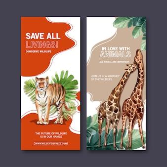 Progettazione dell'aletta di filatoio dello zoo con la tigre, illustrazione dell'acquerello della giraffa.