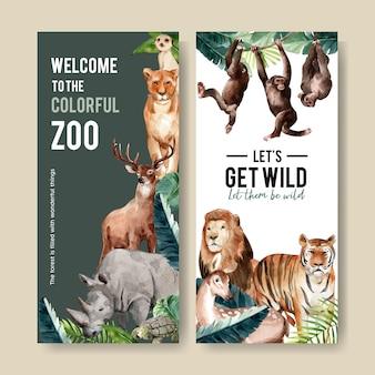 Progettazione dell'aletta di filatoio dello zoo con meerkat, leone, illustrazione dell'acquerello della tigre.