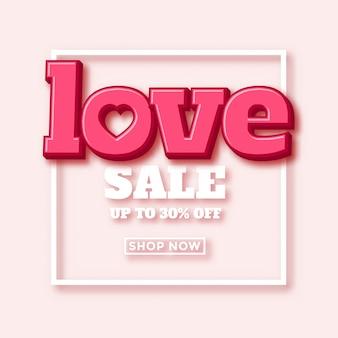 Progettazione dell'annuncio di vendita di san valentino con bella tipografia 3d