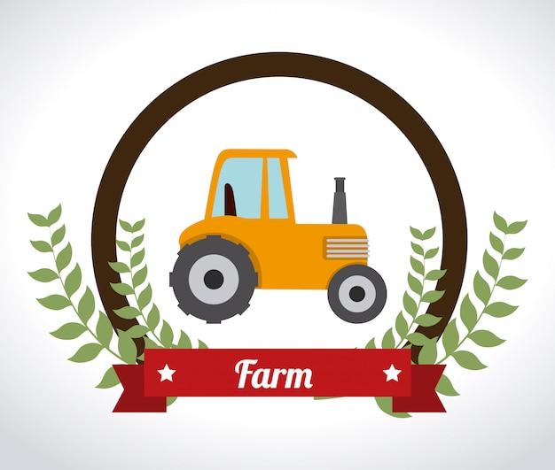 Progettazione dell'azienda agricola sopra l'illustrazione bianca di vettore del fondo