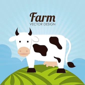 Progettazione dell'azienda agricola sopra l'illustrazione di vettore del fondo del paesaggio
