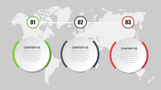 Progettazione dell'elemento di infographic di affari di tre punti