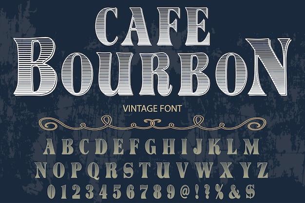 Progettazione dell'etichetta di alfabeto di effetto ombra di bourbon cafe