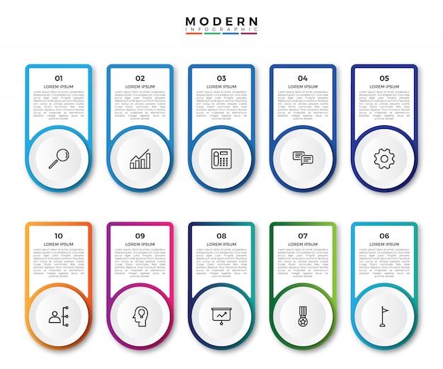 Progettazione dell'etichetta di infographic di vettore con le icone