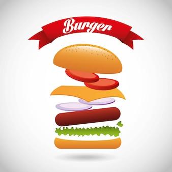 Progettazione dell'hamburger sopra l'illustrazione grigia di vettore del fondo