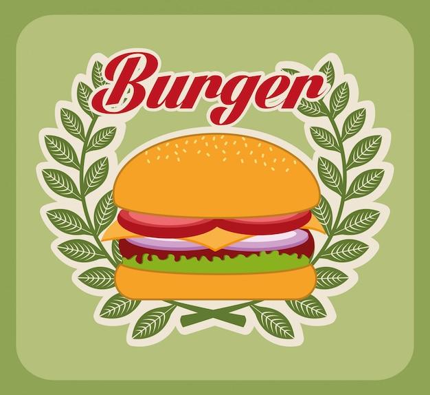 Progettazione dell'hamburger sopra l'illustrazione verde di vettore del fondo