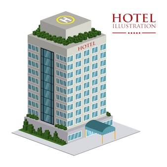 Progettazione dell'hotel sopra l'illustrazione bianca di vettore del fondo