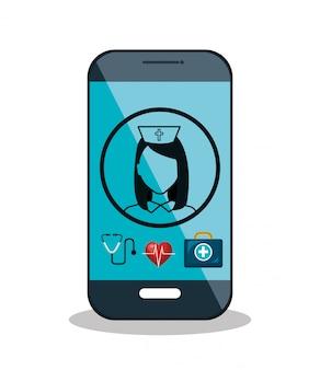 Progettazione dell'icona isolata assistenza sanitaria digitale