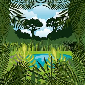 Progettazione dell'icona isolata fondo del paesaggio della giungla
