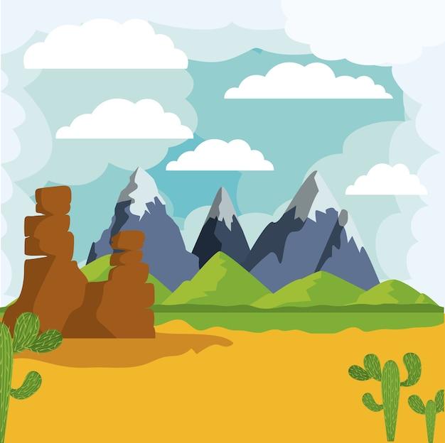 Progettazione dell'icona isolata paesaggio del deserto