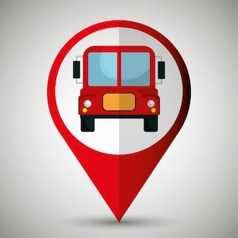 Progettazione dell'icona isolata posizione dell'autobus