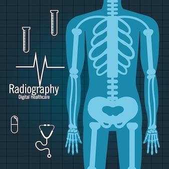 Progettazione dell'icona isolata radiografia del corpo