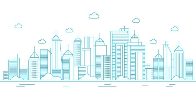 Progettazione dell'illustrazione al tratto della città del paesaggio con fondo bianco