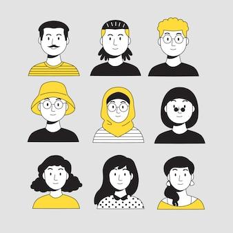 Progettazione dell'illustrazione con gli avatar della gente
