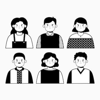 Progettazione dell'illustrazione degli avatar della gente