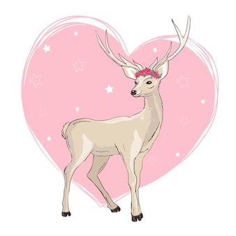 Progettazione dell'illustrazione del fumetto dei cervi. vettore animale sveglio di bambi.